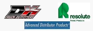 Advanced Distributer Products logo, Resolute logo, and DK Truck Outfitters logo